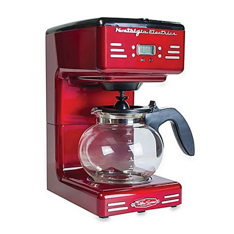 bed bath and beyond coffee nostalgia electrics retro series rcof120 electric coffee maker in red bed bath