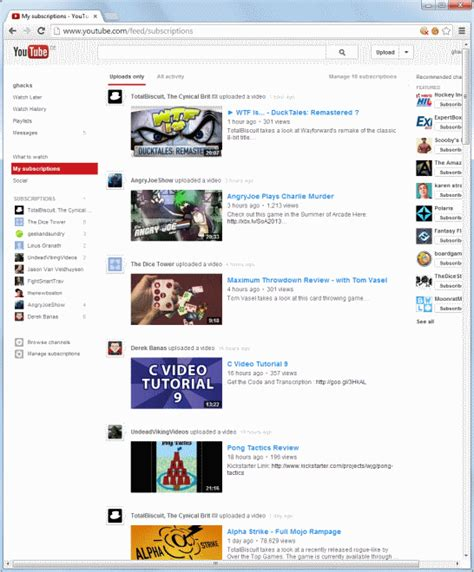 youtube full screen layout access youtube video subscriptions faster with a change to