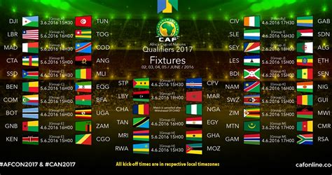 Can Calendrier Des Matchs Can 2017 Le Calendrier Complet Des Matchs Camfoot