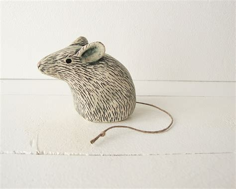 Handmade Clay Sculptures - clay mouse animal sculpture handmade ceramic by iktomi