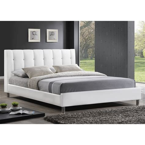 Bed Headboard Baxton Studio Vino Modern Upholstered Size Bed