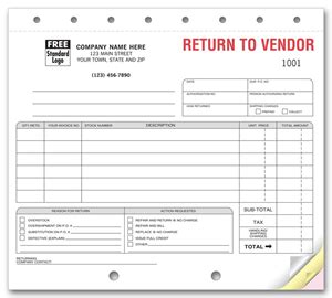 return to vendor form template return to vendor forms