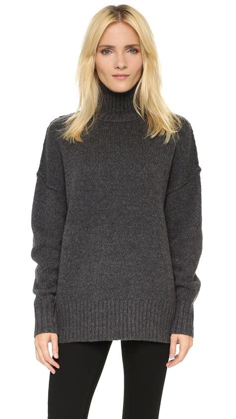 Sweater Turtleneck lyst nlst oversize turtleneck sweater in gray