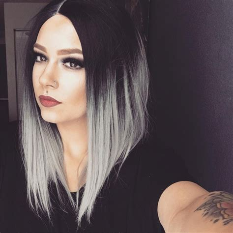 omber silver gray short wigs synthetic hair natural straight black grey bob wig  black white