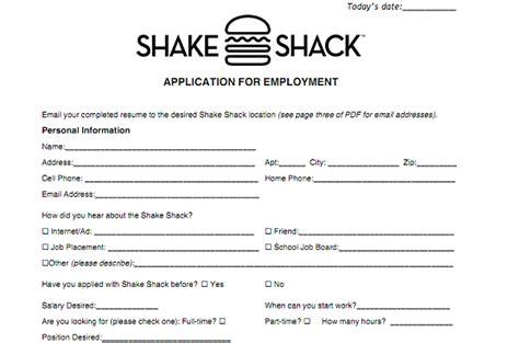printable job application for steak and shake shake shack application online job employment form