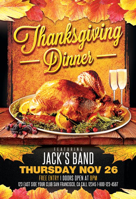 Thanksgiving Dinner Flyer Template Download For Photoshop Free Printable Thanksgiving Flyer Templates