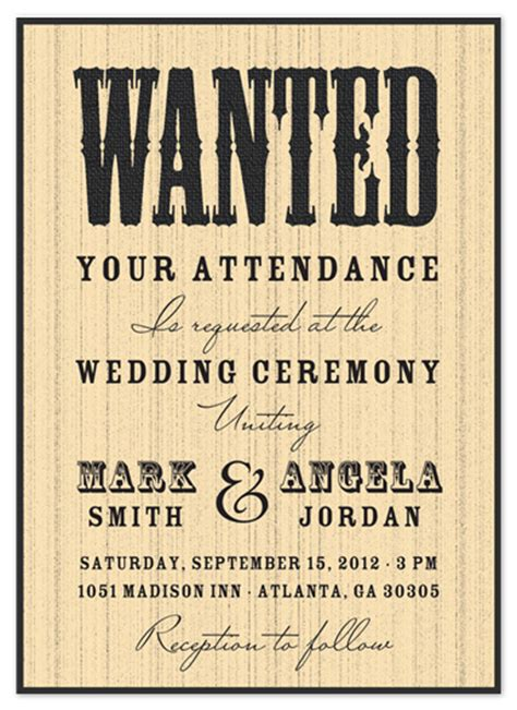 wanted invitation template wedding invitations wanted at the wedding at minted