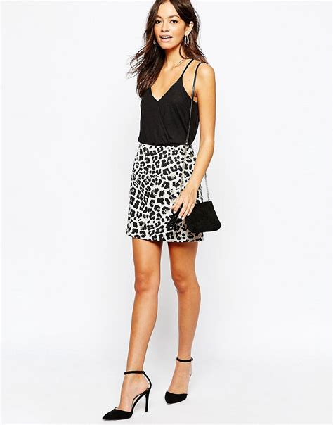 new look new look leopard a line skirt at asos