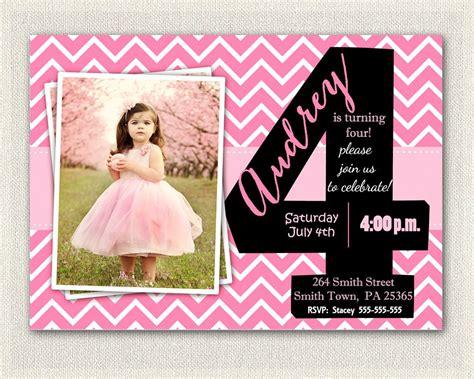 Invitation Fourth Birthday Card Templates by 4th Birthday Invitations Printable Fourth Birthday