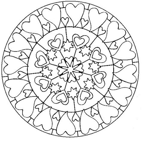 adult coloring page love mandala with hearts 5