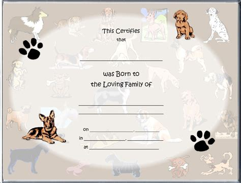 puppy birth certificate template free birth certificates page