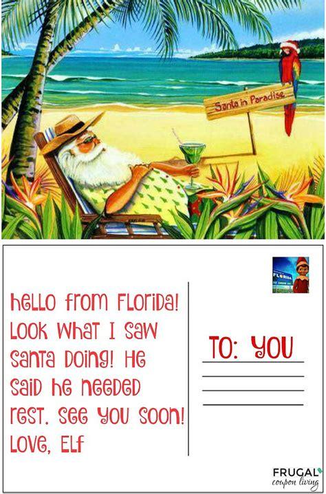 printable elf on the shelf postcard florida postcard elf on the shelf ideas frugal coupon living