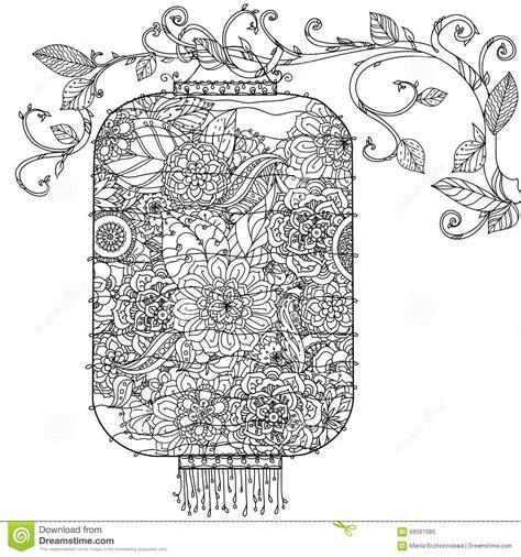 doodle flowers interpretation lantern zentagle stock vector image 66561080