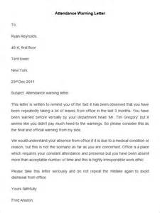 written warning template for attendance 33 hr warning letters free sle exle format