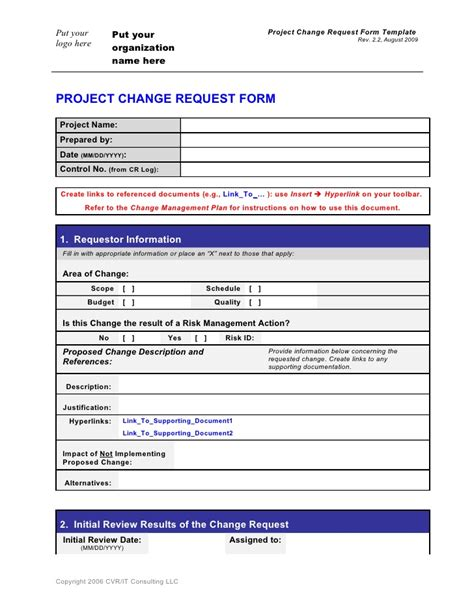 Change Request Form Template Change Management Template Word