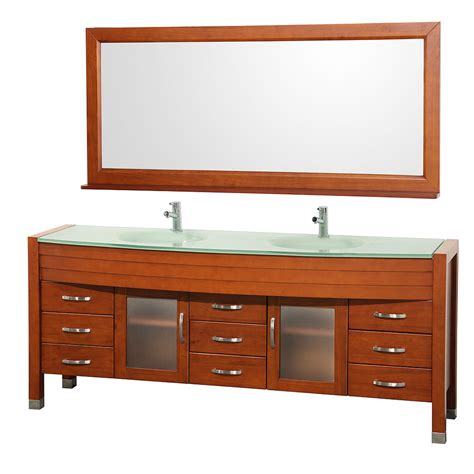 tempered glass vanity top with integrated shop wyndham collection daytona cherry integrated double
