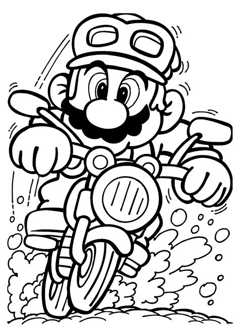 printable images black and white mario on motorcycle coloring pages for kids printable free