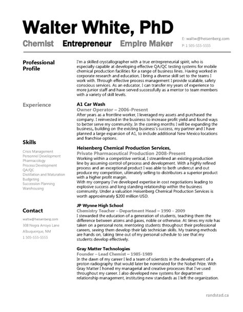 resume format for phd chemistry breaking bad walter white s engineer resume randstad canada