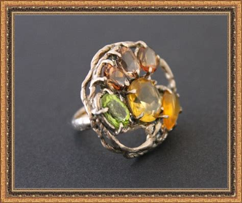 Imperial Chagne Topaz 12 80ct ring st silver imperial topaz opal citrine peridot from