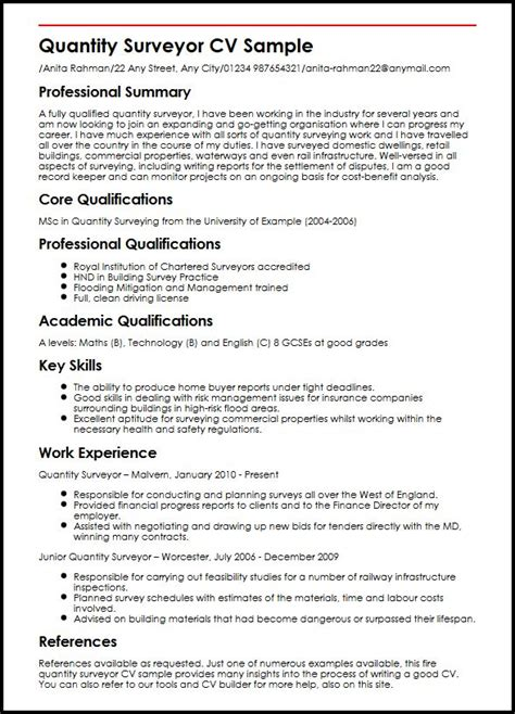quantity surveyor cv sample myperfectcv