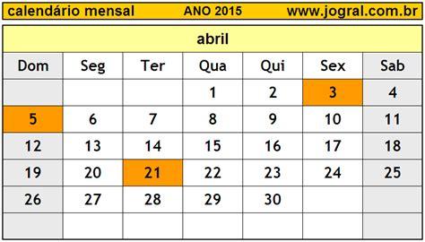 Calendario De Abril 2015 Calend 225 Mensal Abril De 2015 Imprimir M 234 S De Abril 2015