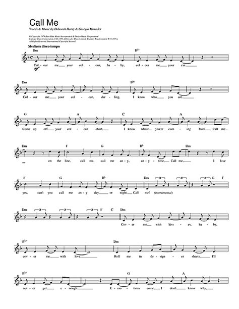 song call me blondie call me sheet music