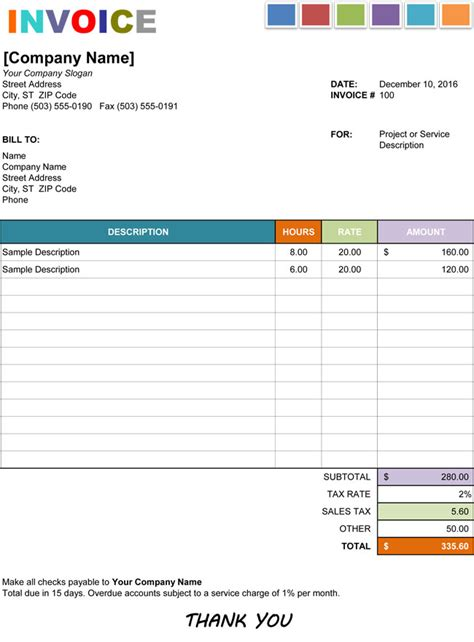 15 Hourly Service Invoice Templates In Excel Word And Pdf Hourly Invoice Template Word