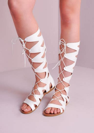 white lace up sandals knee high lace up gladiator flat sandals white