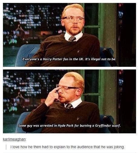 simon pegg memes everyone s a harry potter fan in the uk it s illegal not