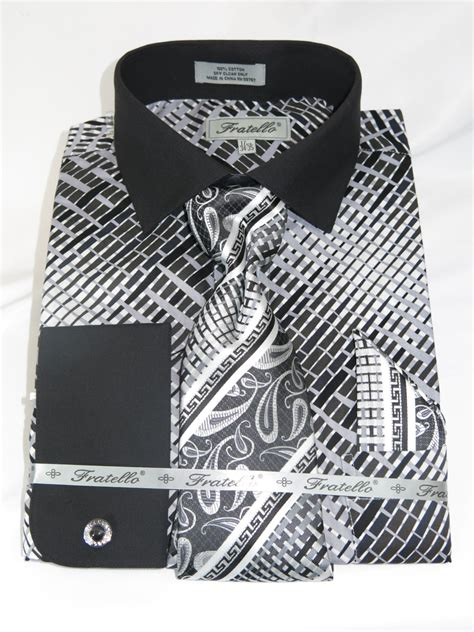 pattern for french cuff fratello 4134p2 black men s french cuff dress shirt with