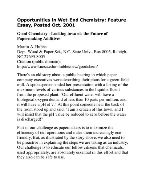 Chemistry Argumentative Essay Topics by Essay Chemistry M Hubbe