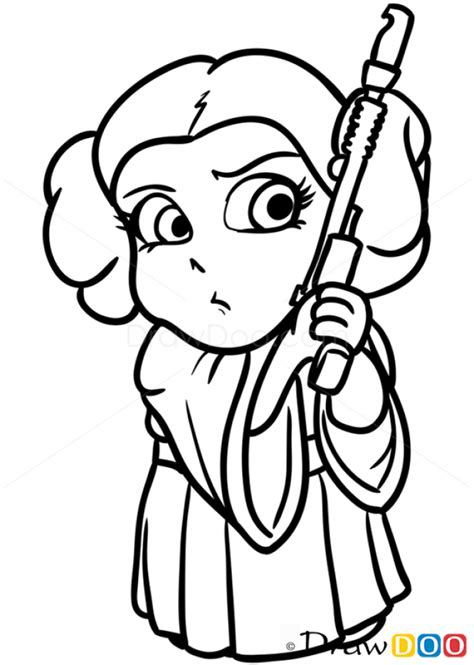 Drawn star wars cartoon   Pencil and in color drawn star