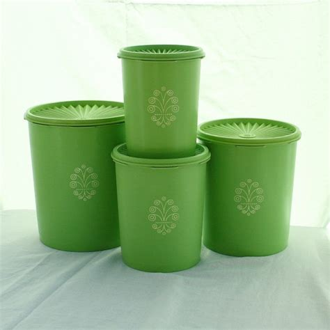 Retro Kitchen Canisters Set by Vintage Tupperware Servalier 4 Canister Set In Lime Green Or