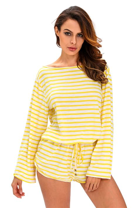 18 02 Romper Snow White Yellow us 25 25 zkess yellow white batwing stripe cover up romper