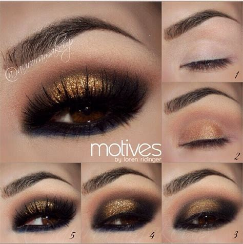 eyeshadow tutorial black girl gold and black smokey eye makeup step by step makeup