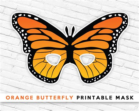printable butterfly mask orange butterfly printable mask butterfly mask kids bug