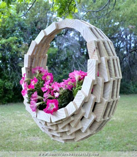 easy inexpensive diy pieced wood hanging flower basket garden whimsey hanging flower