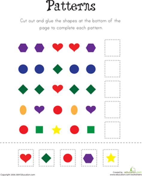 matching your pattern game pre school worksheets 187 pattern matching worksheets free