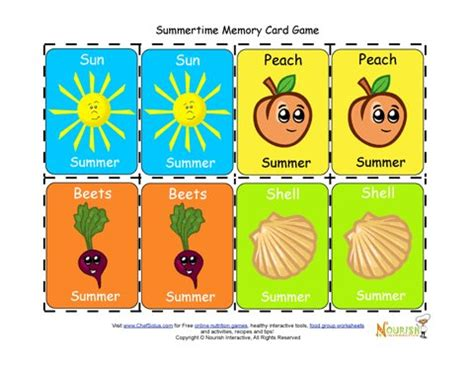 printable card games for preschoolers kids matching summertime foods and activities card game