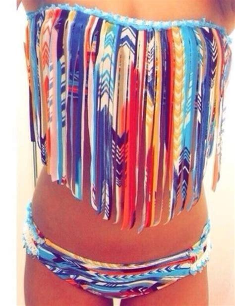tribal pattern bathing suit swimwear aztec coat tribal pattern fringe bikini