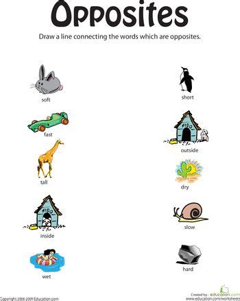 printable worksheets opposites kindergarten teaching opposites education com