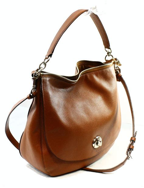 Coach Karee Leather Purse by Coach New Brown Saddle Pebble Leather Turnlock Hobo