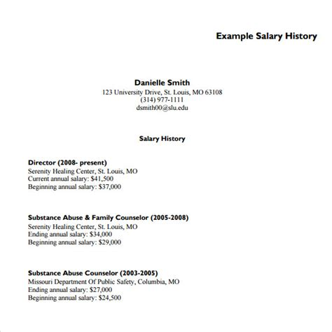 salary history template 6 free documents in