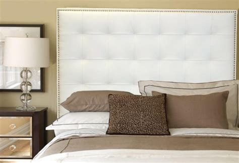 white headboard queen queen size white genuine leather buttonless tufted headboard