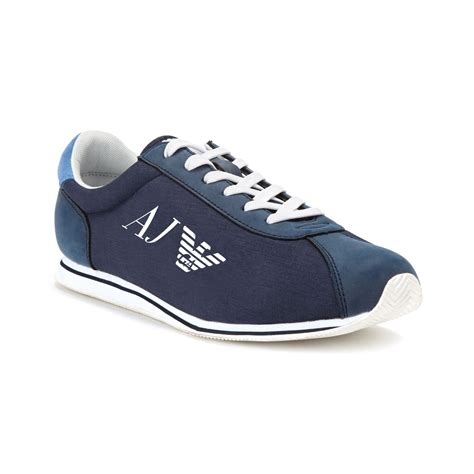 armani eagle sneakers in blue for lyst