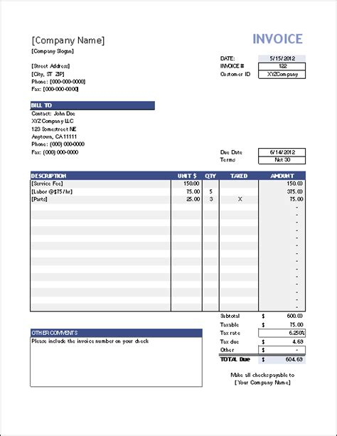 one must on business invoice templates