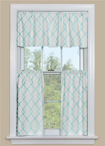 embroidered kitchen curtain panel in aqua