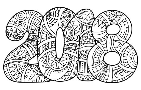 Free Coloring Page 2018 by Happy New Year 2018 Coloring Pages Getcoloringpages
