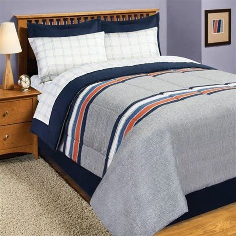 orange and gray bedding gray blue orange rugby stripe twin comforter set 6pc bed