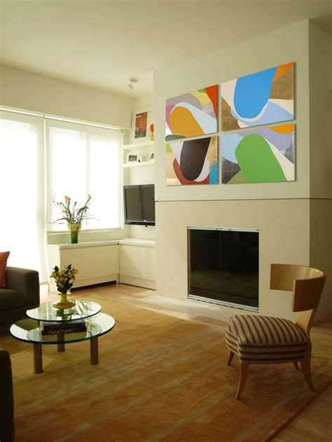 white living room with colorful wall hgtv